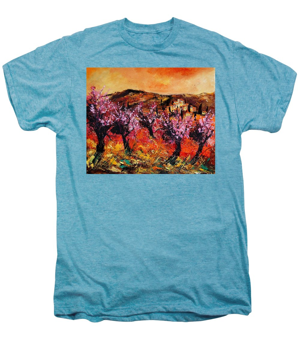 Provence Cherrytree Summer Spring Men's Premium T-Shirt featuring the painting Blooming Cherry Trees by Pol Ledent