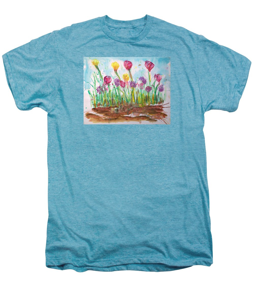 Flowers Men's Premium T-Shirt featuring the painting Blooming Colors by J R Seymour