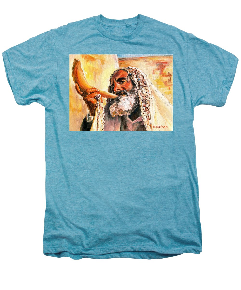 Rabbis Men's Premium T-Shirt featuring the painting Blow The Trumpet In Zion by Carole Spandau