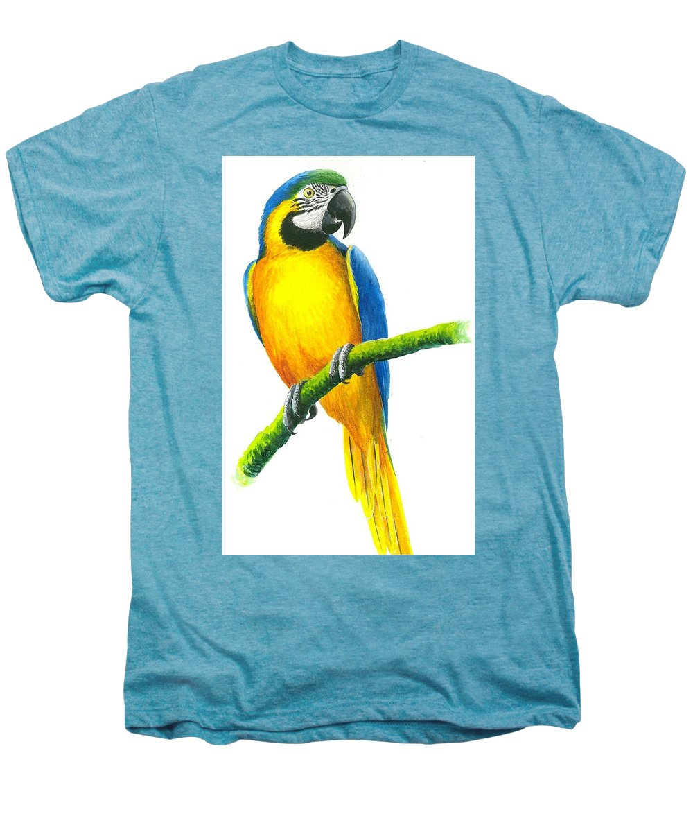 Chris Cox Men's Premium T-Shirt featuring the painting Blue And Gold Macaw by Christopher Cox