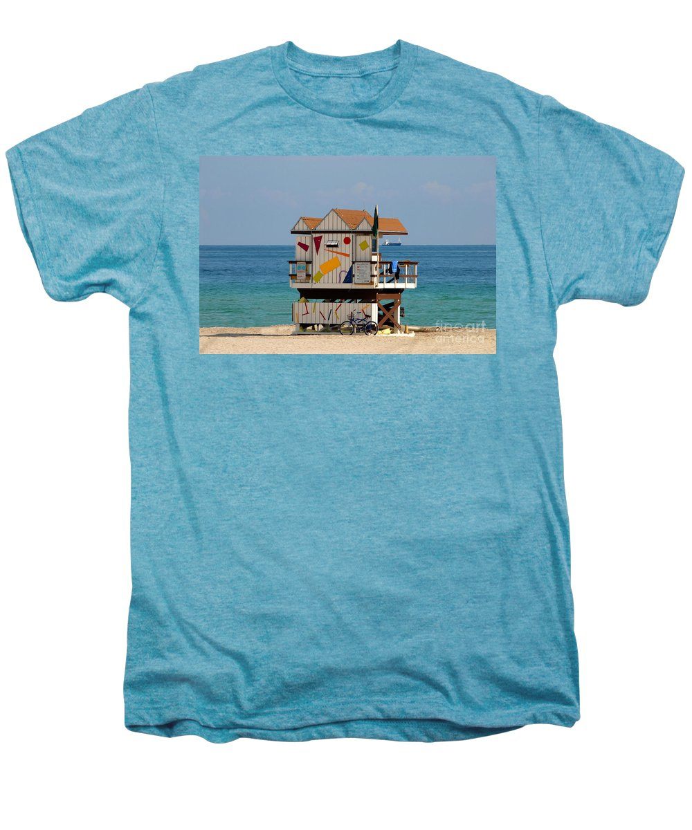 Miami Beach Men's Premium T-Shirt featuring the photograph Blue Bicycle by David Lee Thompson