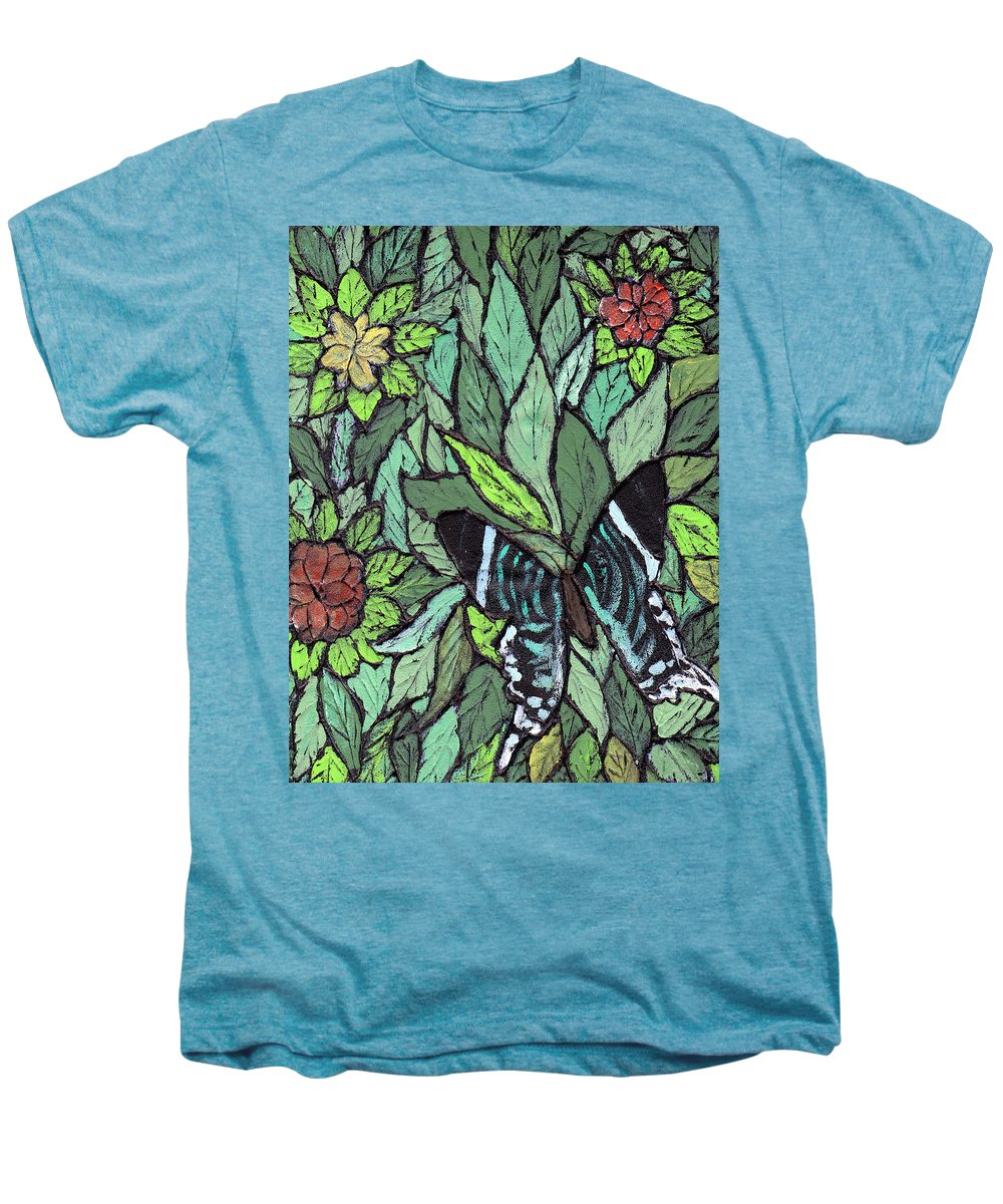 Butterfly Men's Premium T-Shirt featuring the painting Blue Butterfly by Wayne Potrafka