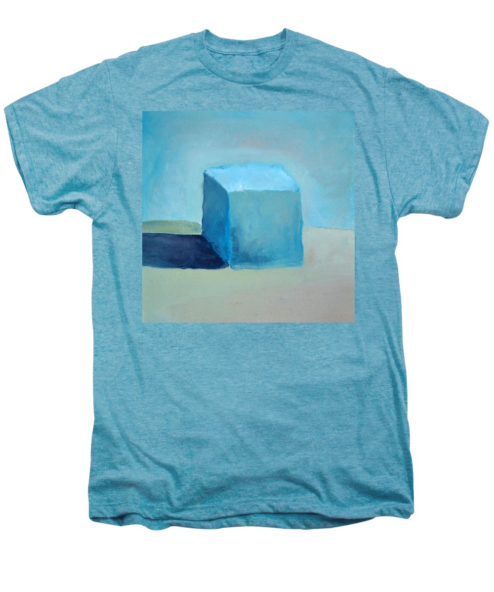 Blue Men's Premium T-Shirt featuring the painting Blue Cube Still Life by Michelle Calkins