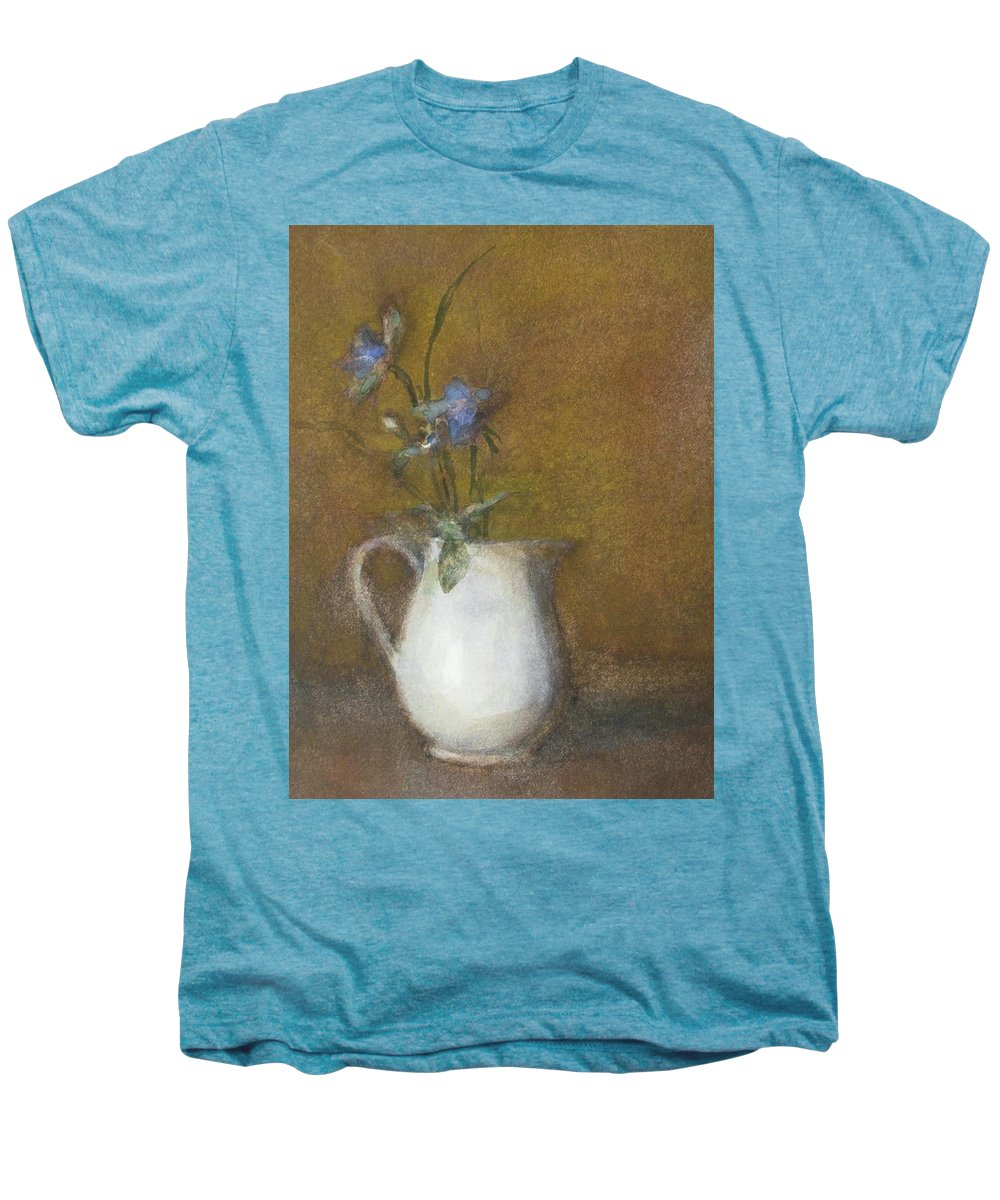 Floral Still Life Men's Premium T-Shirt featuring the painting Blue Flower by Joan DaGradi