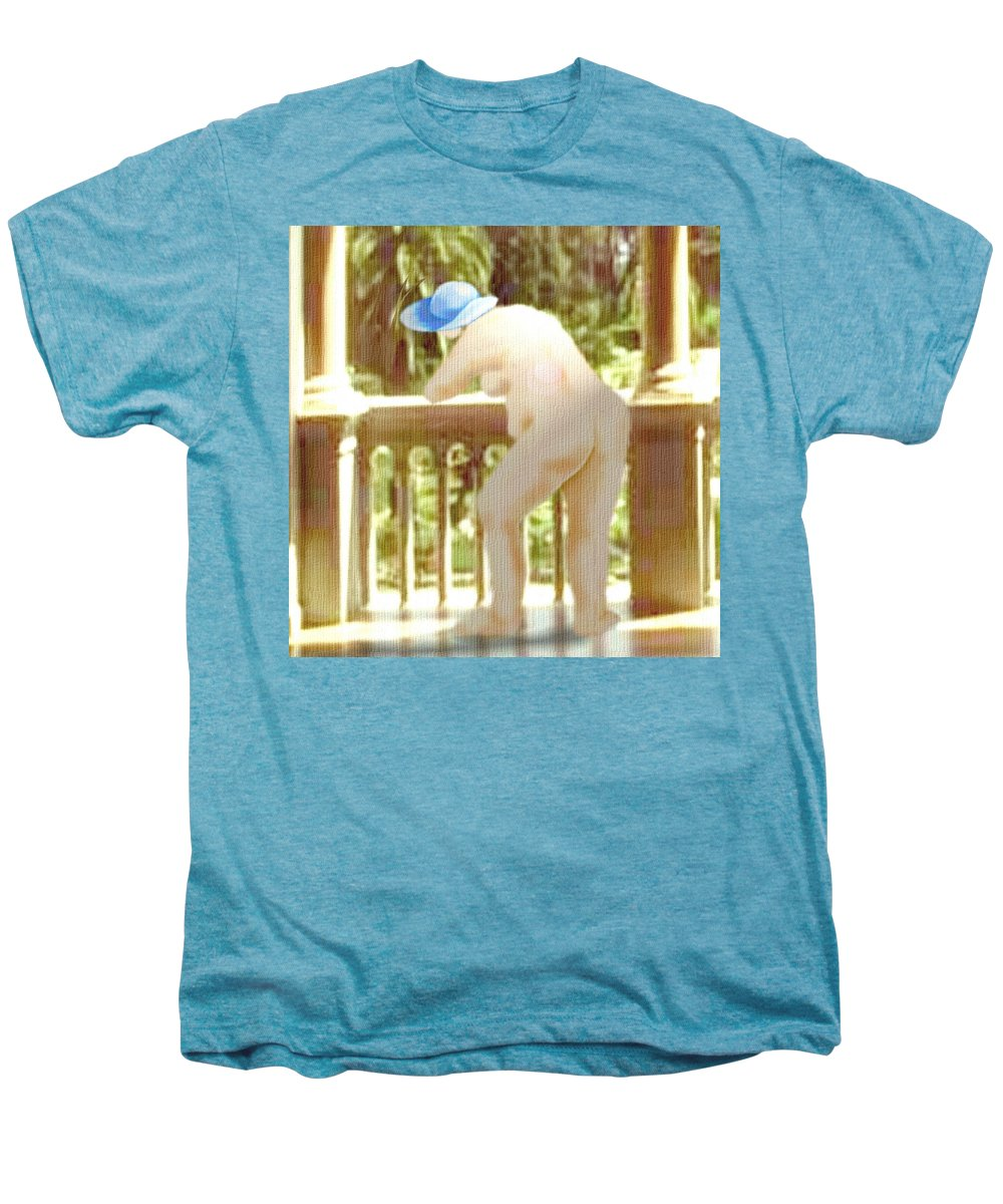 Woman Blue Hat Morning Nature Balcony Men's Premium T-Shirt featuring the digital art Blue Hat by Veronica Jackson
