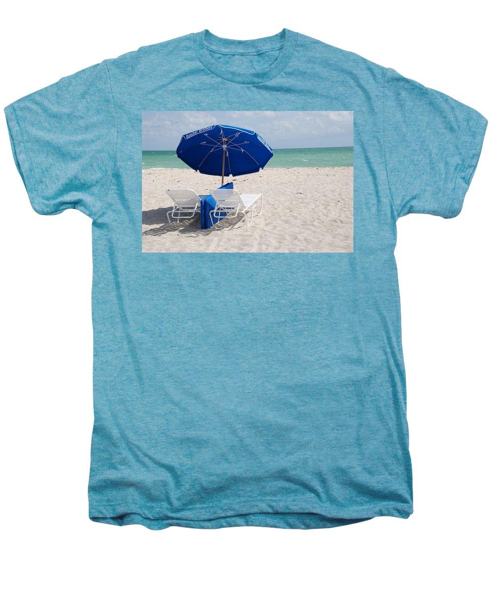 Sea Scape Men's Premium T-Shirt featuring the photograph Blue Paradise Umbrella by Rob Hans