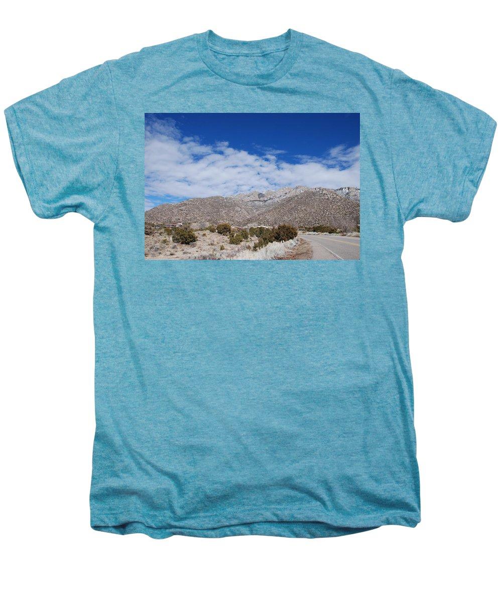 Sandia Mountains Men's Premium T-Shirt featuring the photograph Blue Skys Over The Sandias by Rob Hans