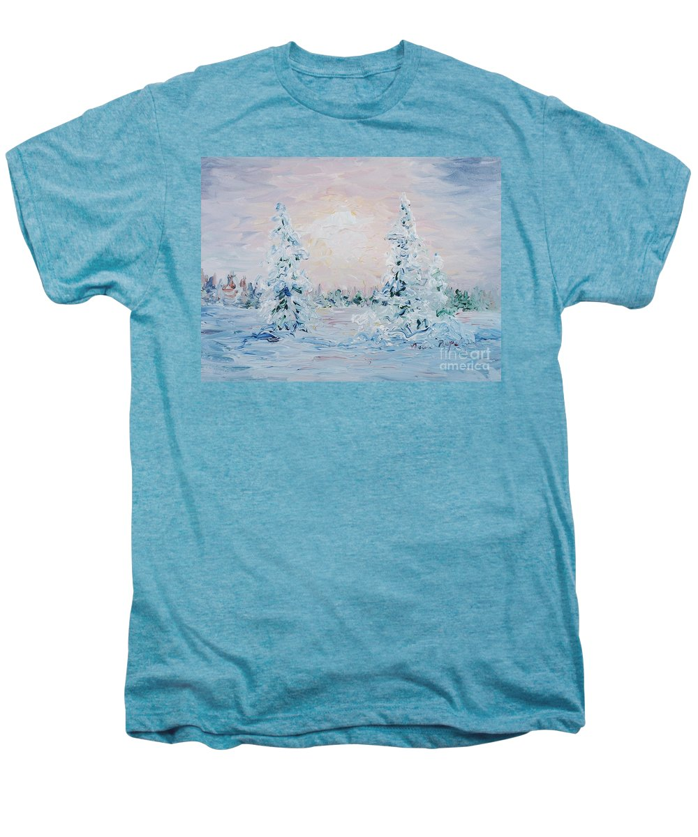 Landscape Men's Premium T-Shirt featuring the painting Blue Winter by Nadine Rippelmeyer