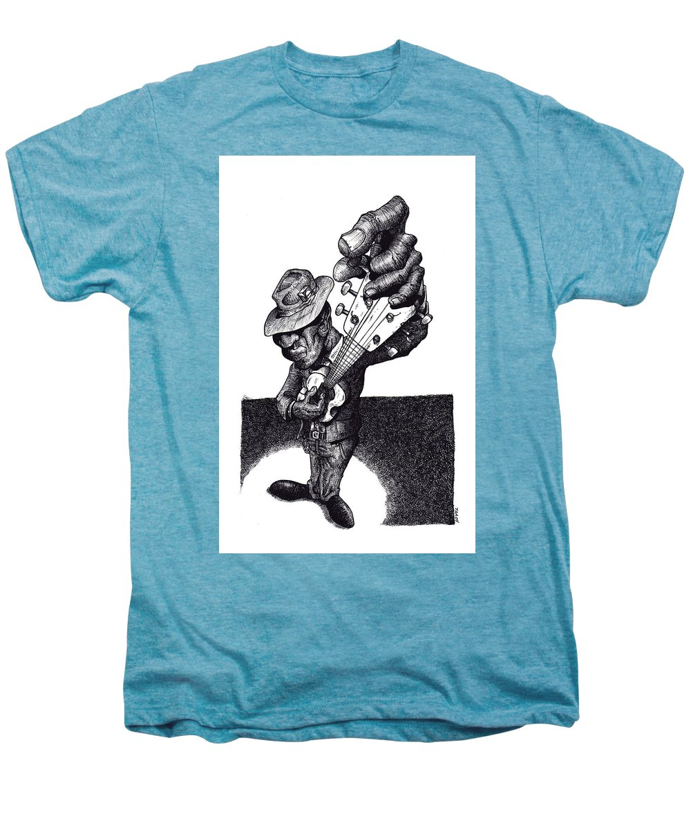 Blues Men's Premium T-Shirt featuring the drawing Blues Guitar by Tobey Anderson