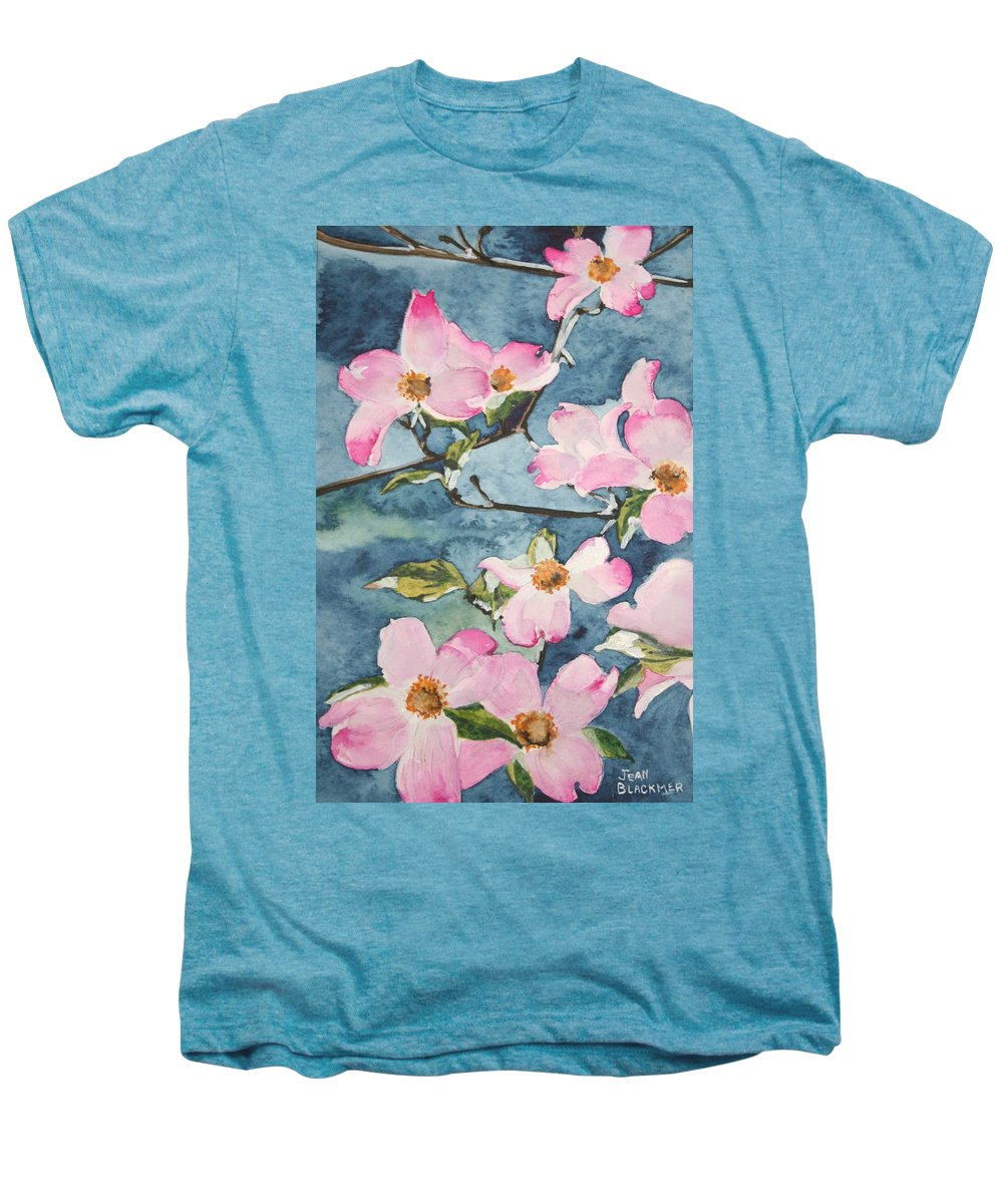 Flowers Men's Premium T-Shirt featuring the painting Blushing Prettily by Jean Blackmer