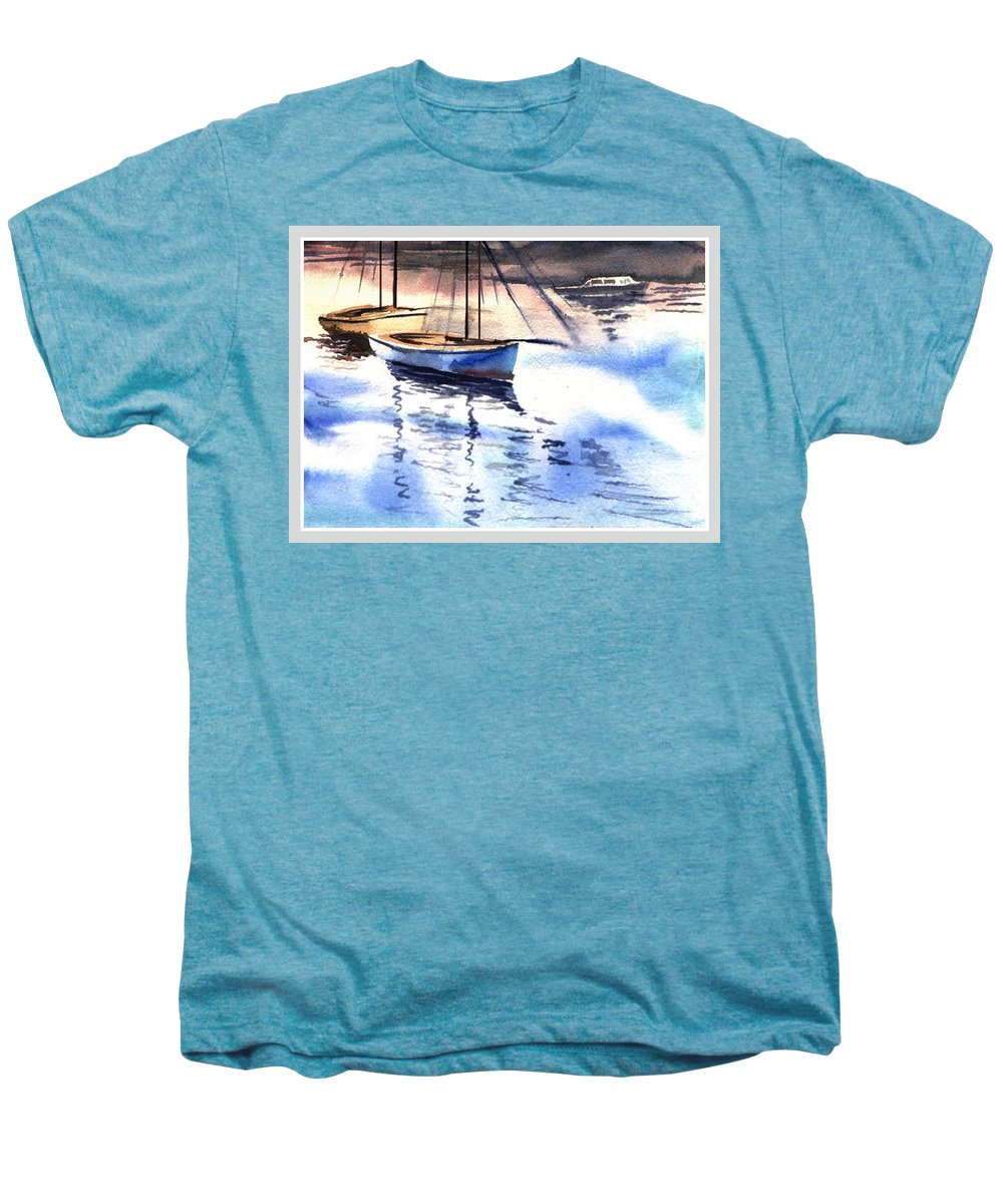 Watercolor Men's Premium T-Shirt featuring the painting Boat And The River by Anil Nene