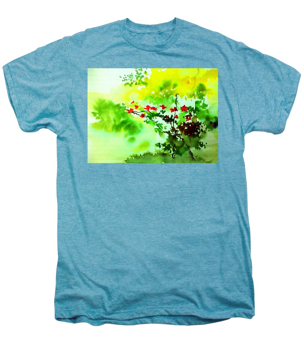 Floral Men's Premium T-Shirt featuring the painting Boganwel by Anil Nene