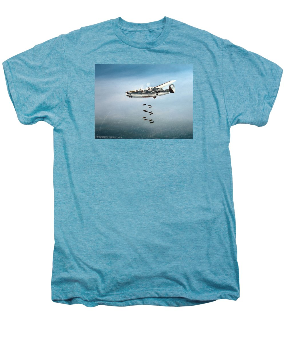 Aviation Men's Premium T-Shirt featuring the painting Bombs Away by Marc Stewart