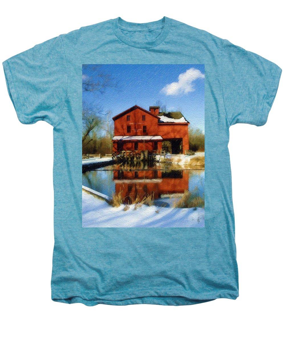 Bonneyville Mill Men's Premium T-Shirt featuring the photograph Bonneyville In Winter by Sandy MacGowan