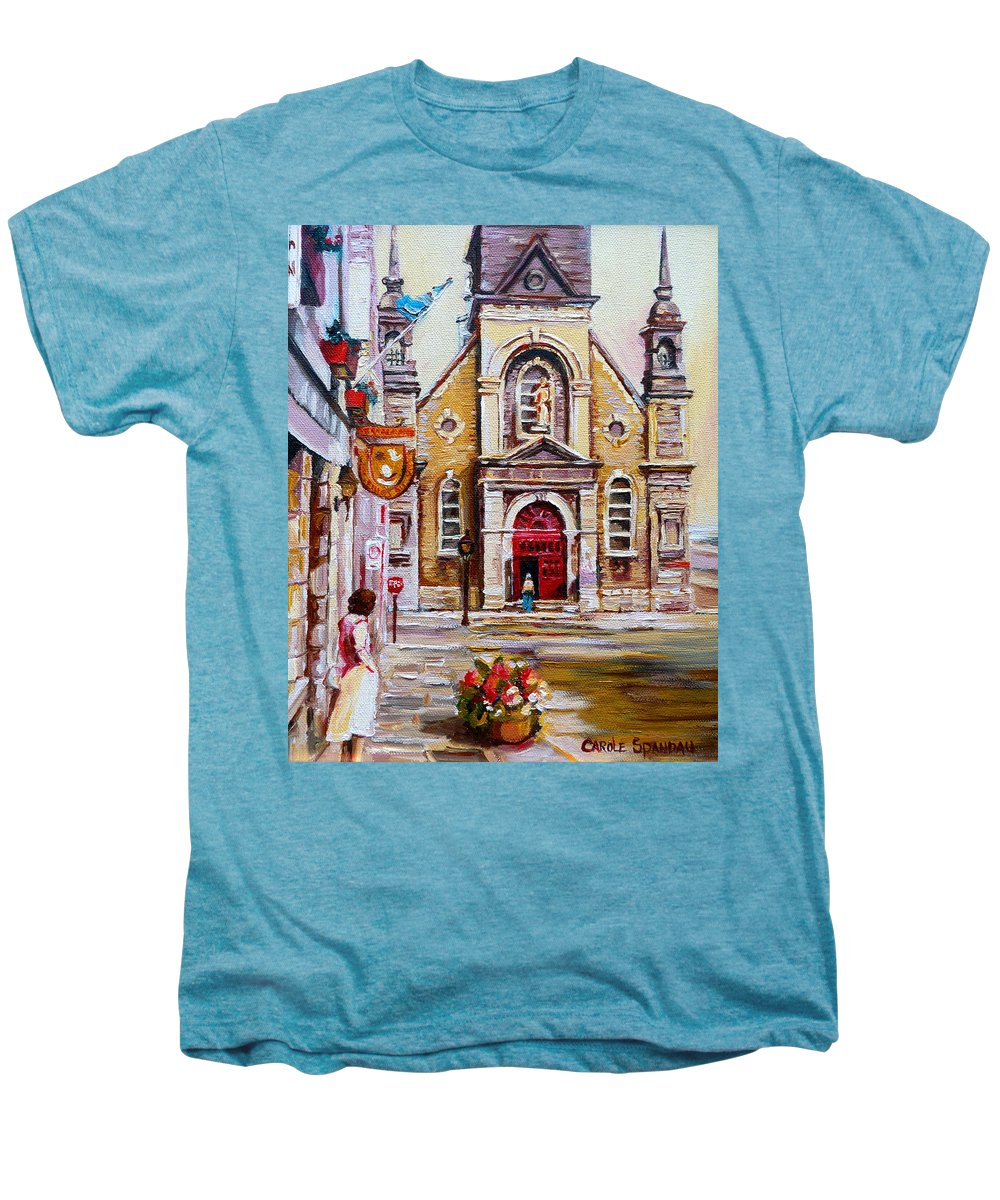Montreal Churches Men's Premium T-Shirt featuring the painting Bonsecours Church by Carole Spandau