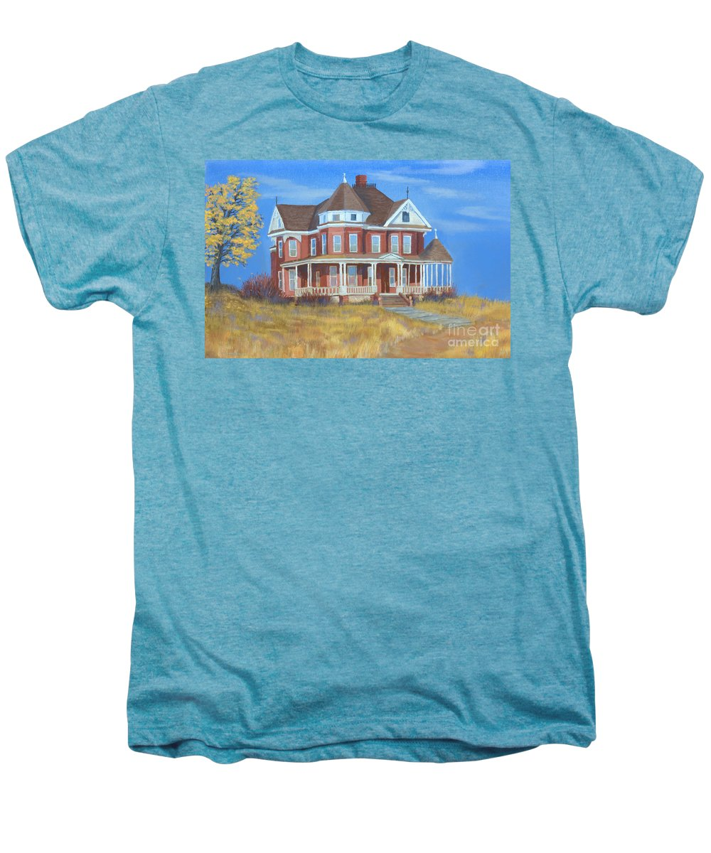 Boulder Men's Premium T-Shirt featuring the painting Boulder Victorian by Jerry McElroy