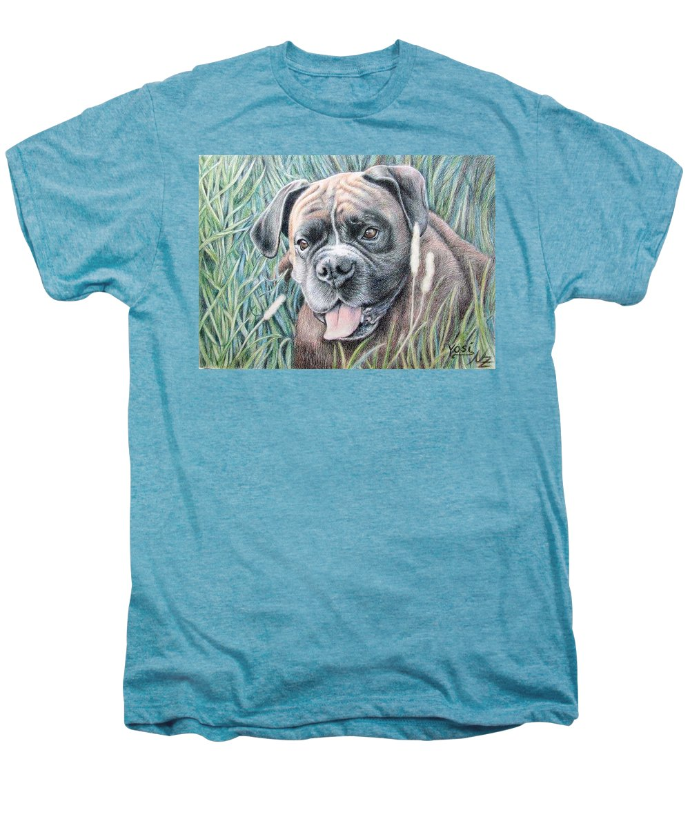 Dog Men's Premium T-Shirt featuring the drawing Boxer Yosi by Nicole Zeug