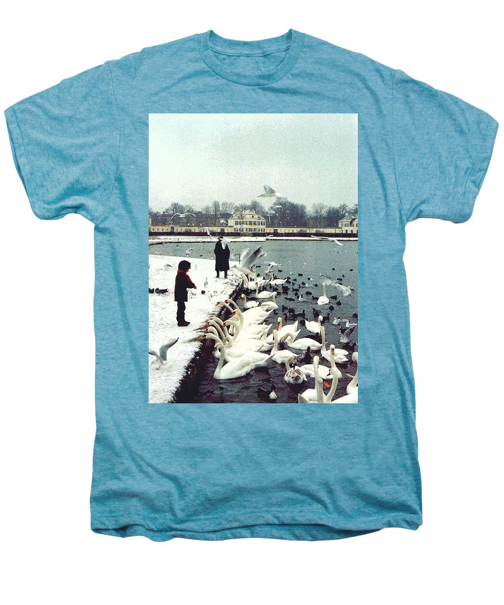 Swans Men's Premium T-Shirt featuring the photograph Boy Feeding Swans- Germany by Nancy Mueller
