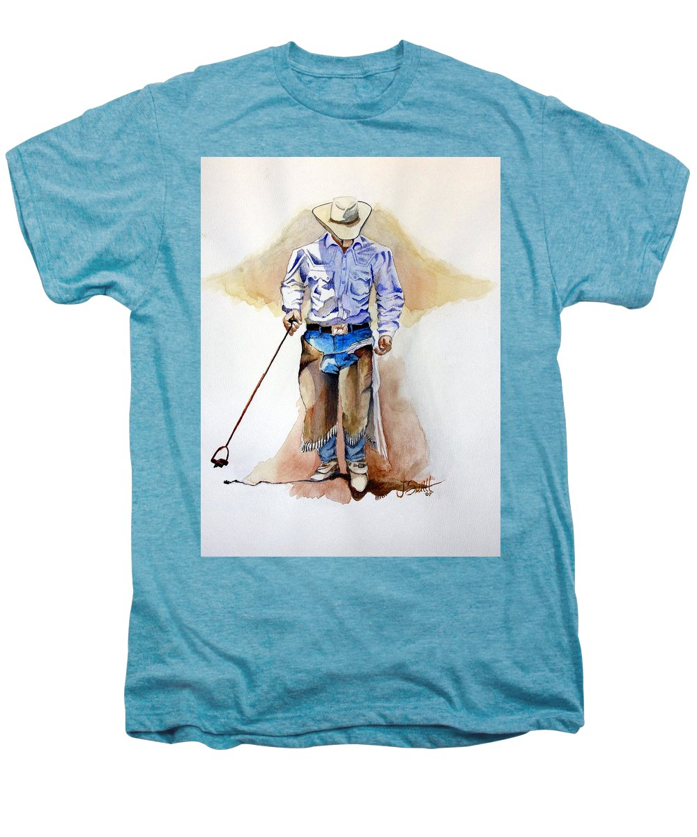 Western Men's Premium T-Shirt featuring the painting Branding Blisters by Jimmy Smith