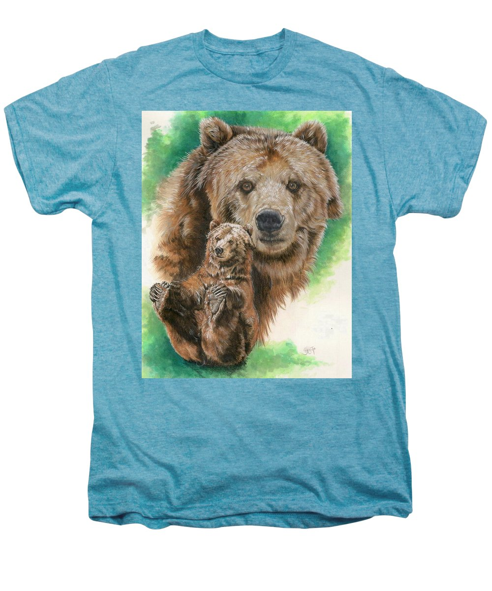 Bear Men's Premium T-Shirt featuring the mixed media Brawny by Barbara Keith
