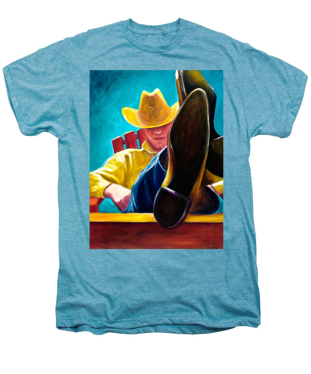 Western Men's Premium T-Shirt featuring the painting Break Time by Shannon Grissom