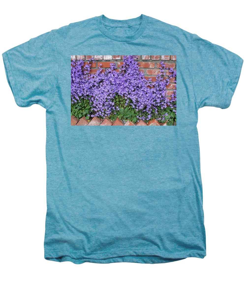 Blue Flowers Men's Premium T-Shirt featuring the photograph Brick Wall With Blue Flowers by Carol Groenen