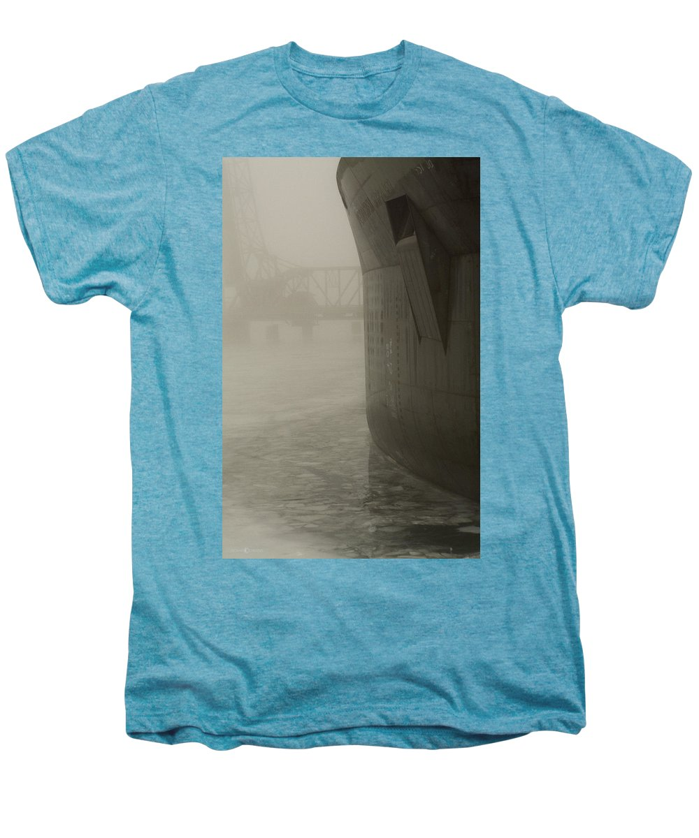 Water Men's Premium T-Shirt featuring the photograph Bridge And Barge by Tim Nyberg