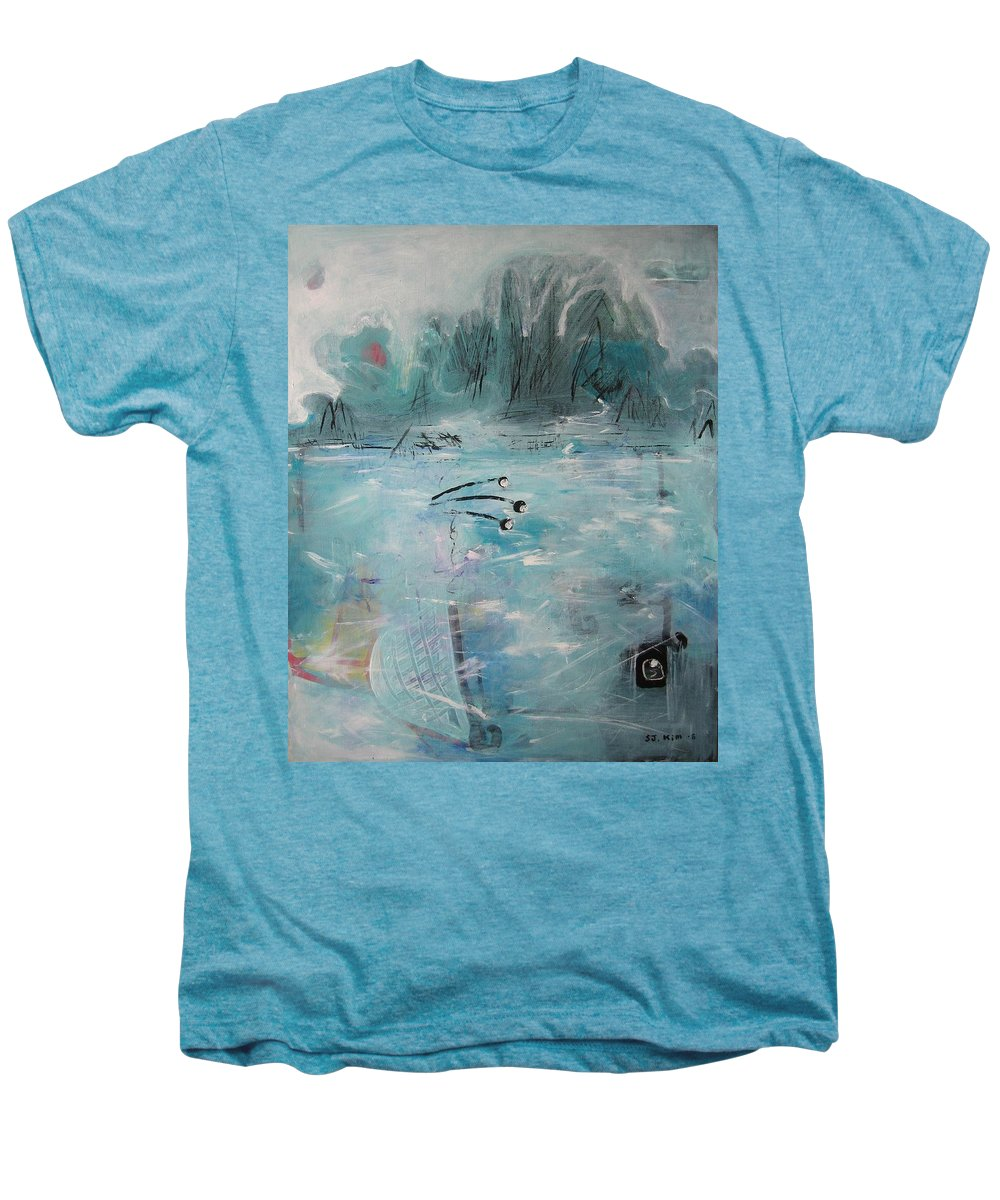 Abstract Paintings Men's Premium T-Shirt featuring the painting Brierly Beach by Seon-Jeong Kim