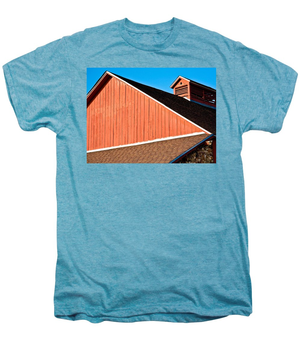 Americana Men's Premium T-Shirt featuring the photograph Bright Red Barn by Marilyn Hunt