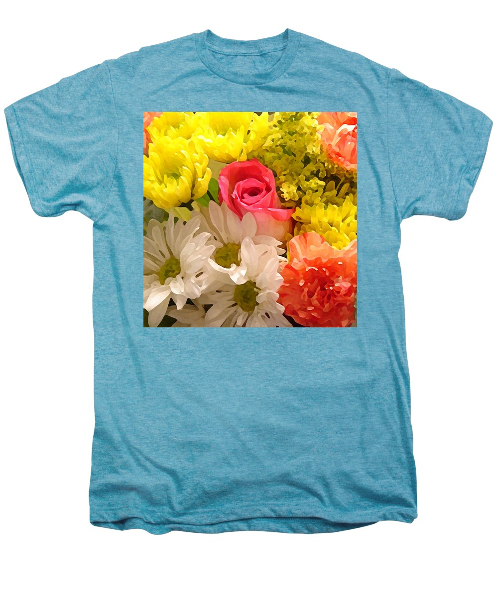 Floral Men's Premium T-Shirt featuring the painting Bright Spring Flowers by Amy Vangsgard