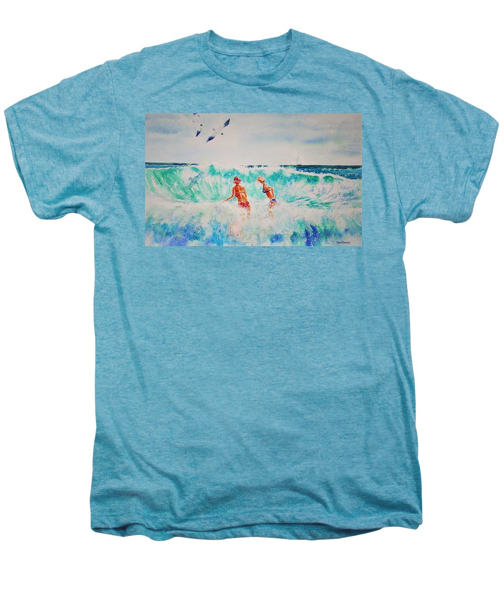 Surf Men's Premium T-Shirt featuring the painting Brooke And Carey In The Shore Break by Tom Harris