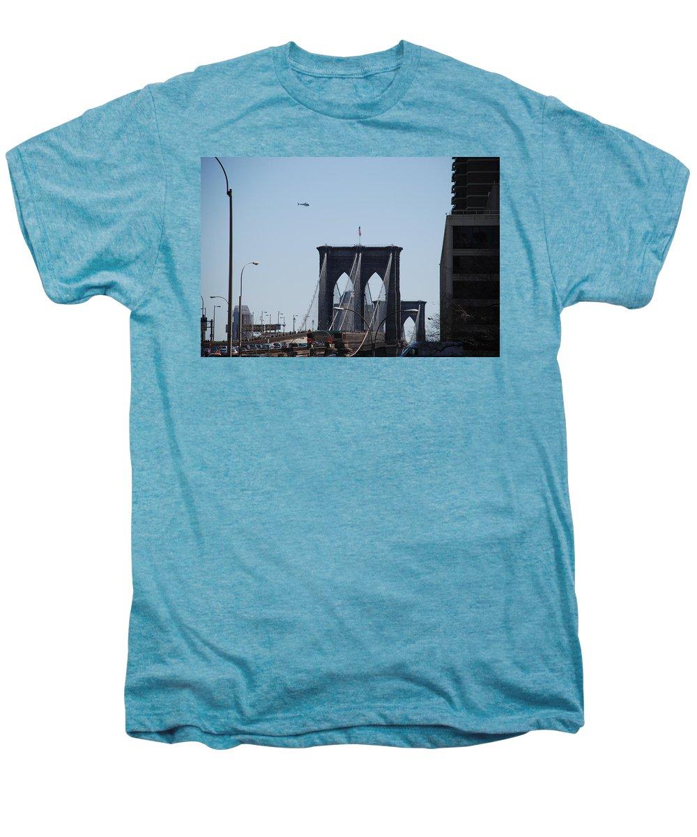 Architecture Men's Premium T-Shirt featuring the photograph Brooklyn Bridge by Rob Hans
