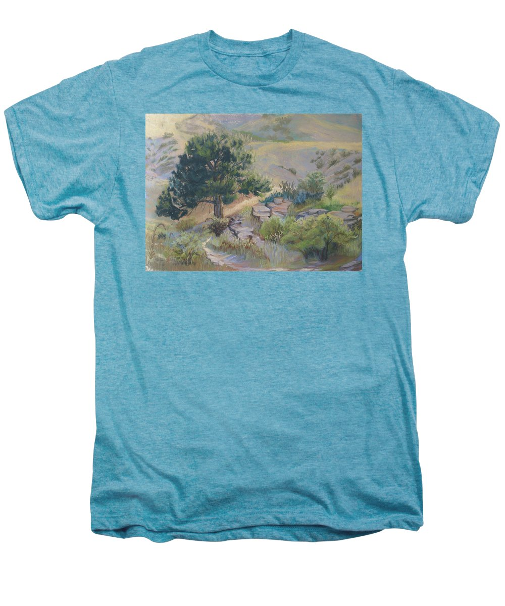 Pine Tree Men's Premium T-Shirt featuring the painting Buckhorn Canyon by Heather Coen