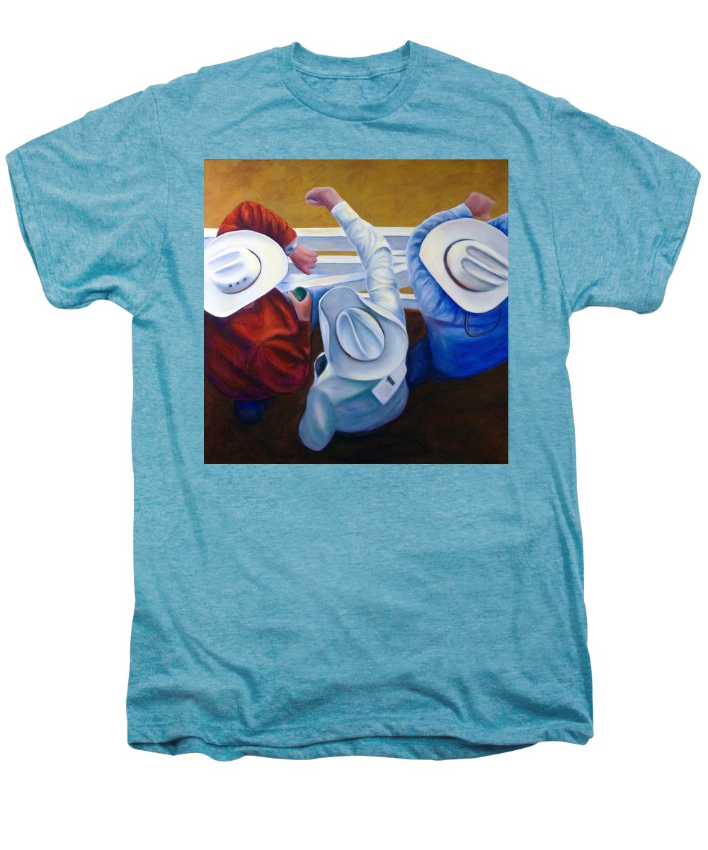 Western Men's Premium T-Shirt featuring the painting Bull Chute by Shannon Grissom
