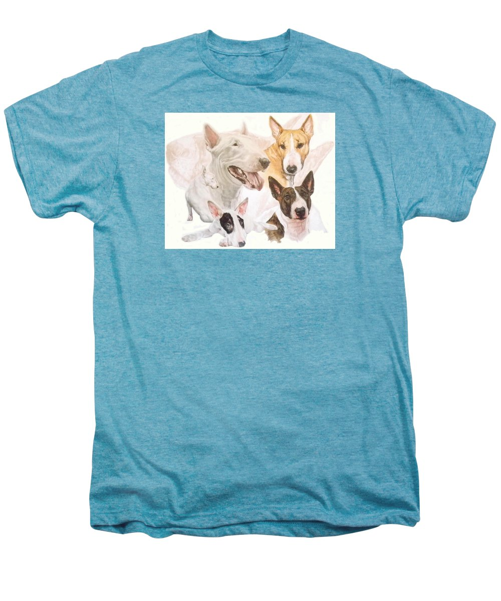 Purebred Men's Premium T-Shirt featuring the mixed media Bull Terrier W/ghost by Barbara Keith