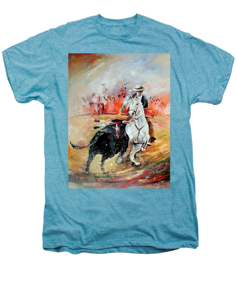 Toros Men's Premium T-Shirt featuring the painting Bullfight 3 by Miki De Goodaboom
