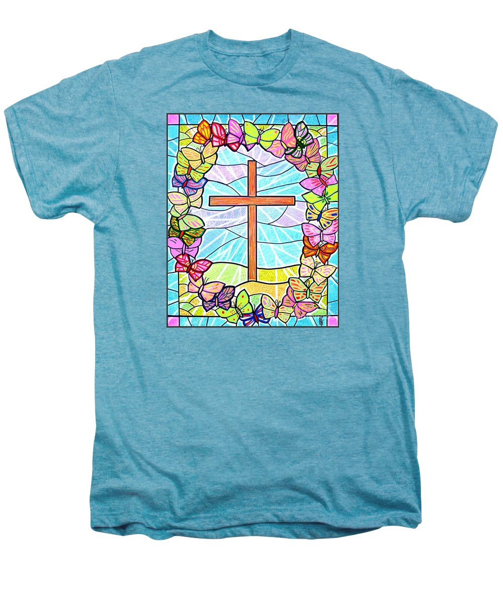 Easter Men's Premium T-Shirt featuring the painting Butterflies And Cross by Jim Harris