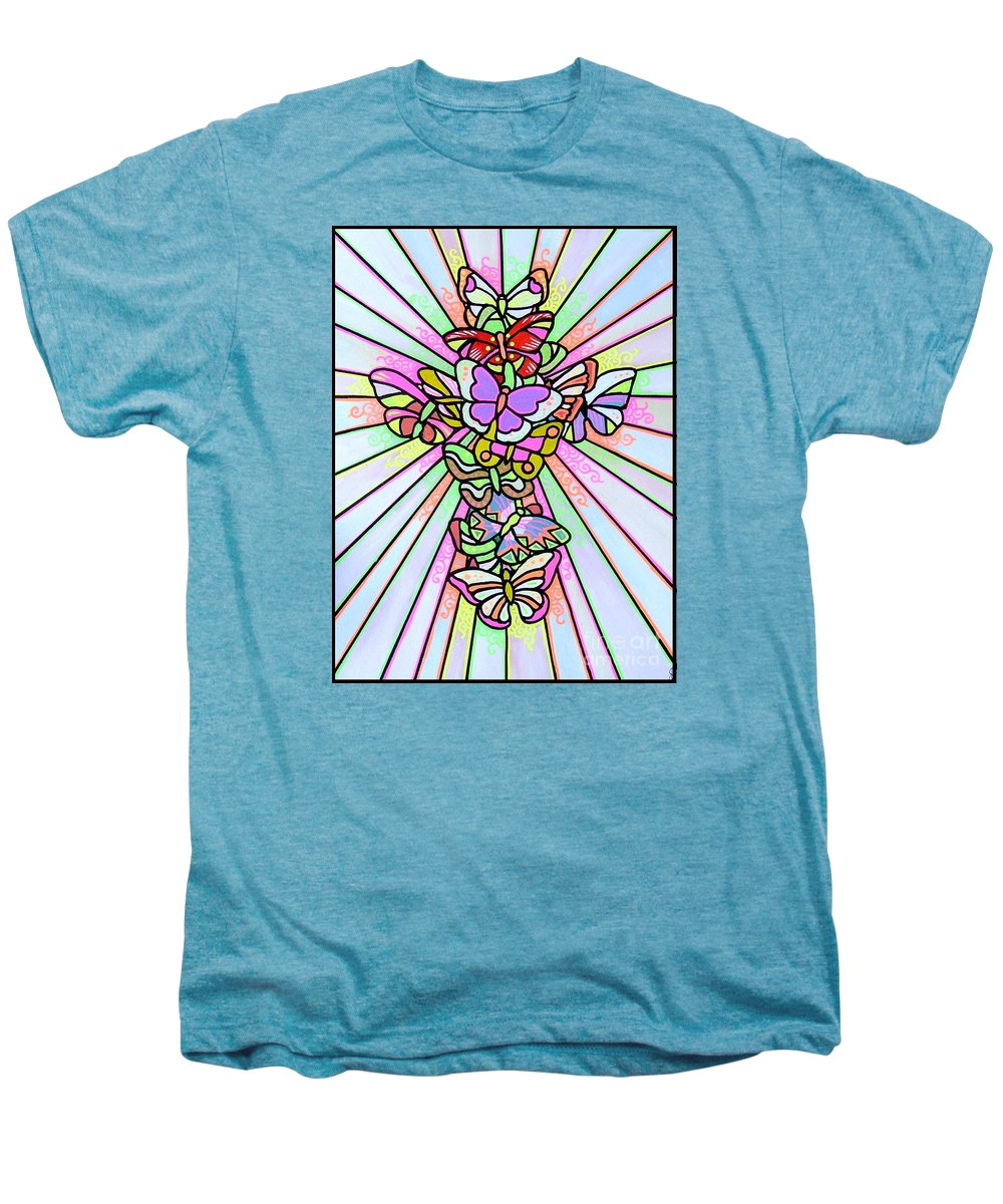 Cross. Easter Men's Premium T-Shirt featuring the painting Butterfly Cross by Jim Harris
