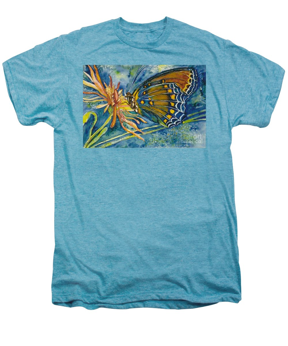 Butterflies Men's Premium T-Shirt featuring the painting Butterfly In Ca by Norma Boeckler