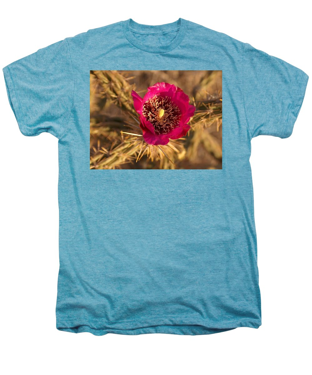 Cactus Flowers Wildflowers Men's Premium T-Shirt featuring the photograph Cactus Flower 1 by Tim McCarthy