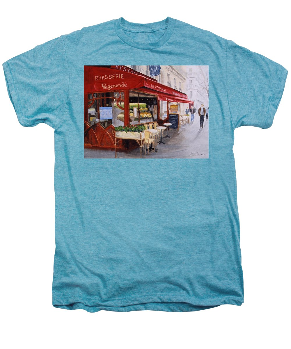 Cafe Men's Premium T-Shirt featuring the painting Cafe 4 by Jay Johnson