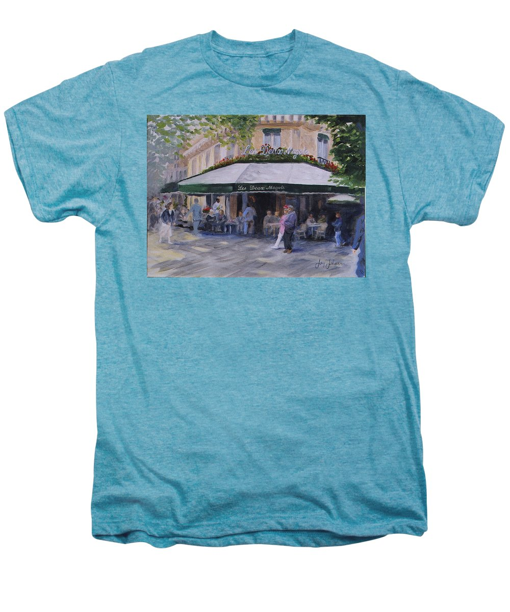 Cafe Magots Men's Premium T-Shirt featuring the painting Cafe Magots by Jay Johnson