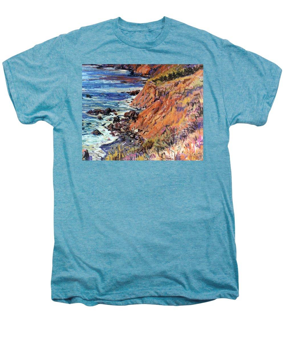 Big Sur Men's Premium T-Shirt featuring the drawing California Coast by Donald Maier