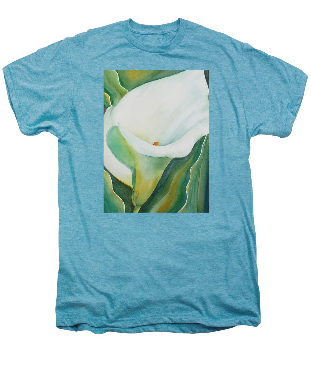 Flower Men's Premium T-Shirt featuring the painting Calla Lily by Ruth Kamenev
