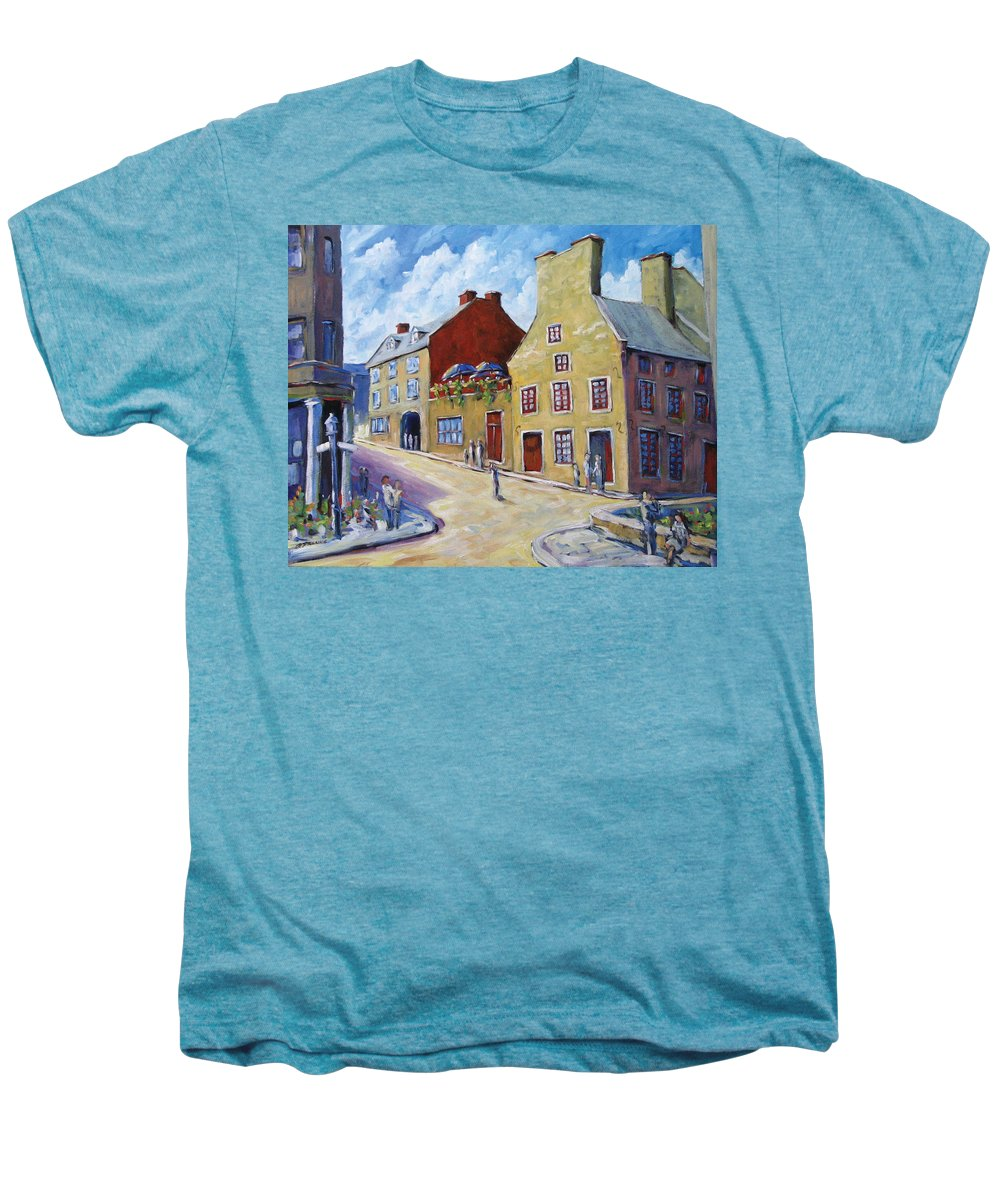 Rural Men's Premium T-Shirt featuring the painting Calvet House Old Montreal by Richard T Pranke