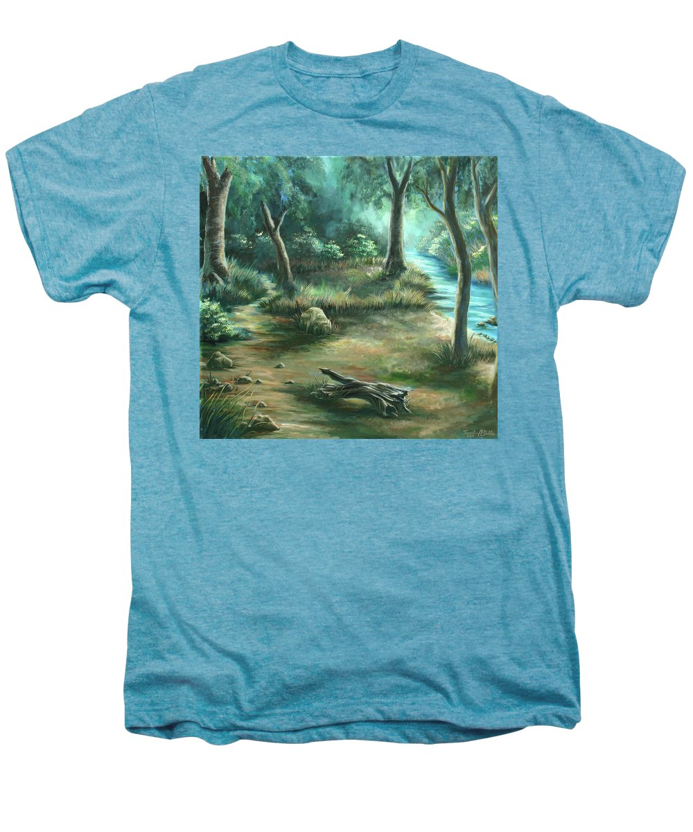 Landscape Men's Premium T-Shirt featuring the painting Camping At Figueroa Mountains by Jennifer McDuffie