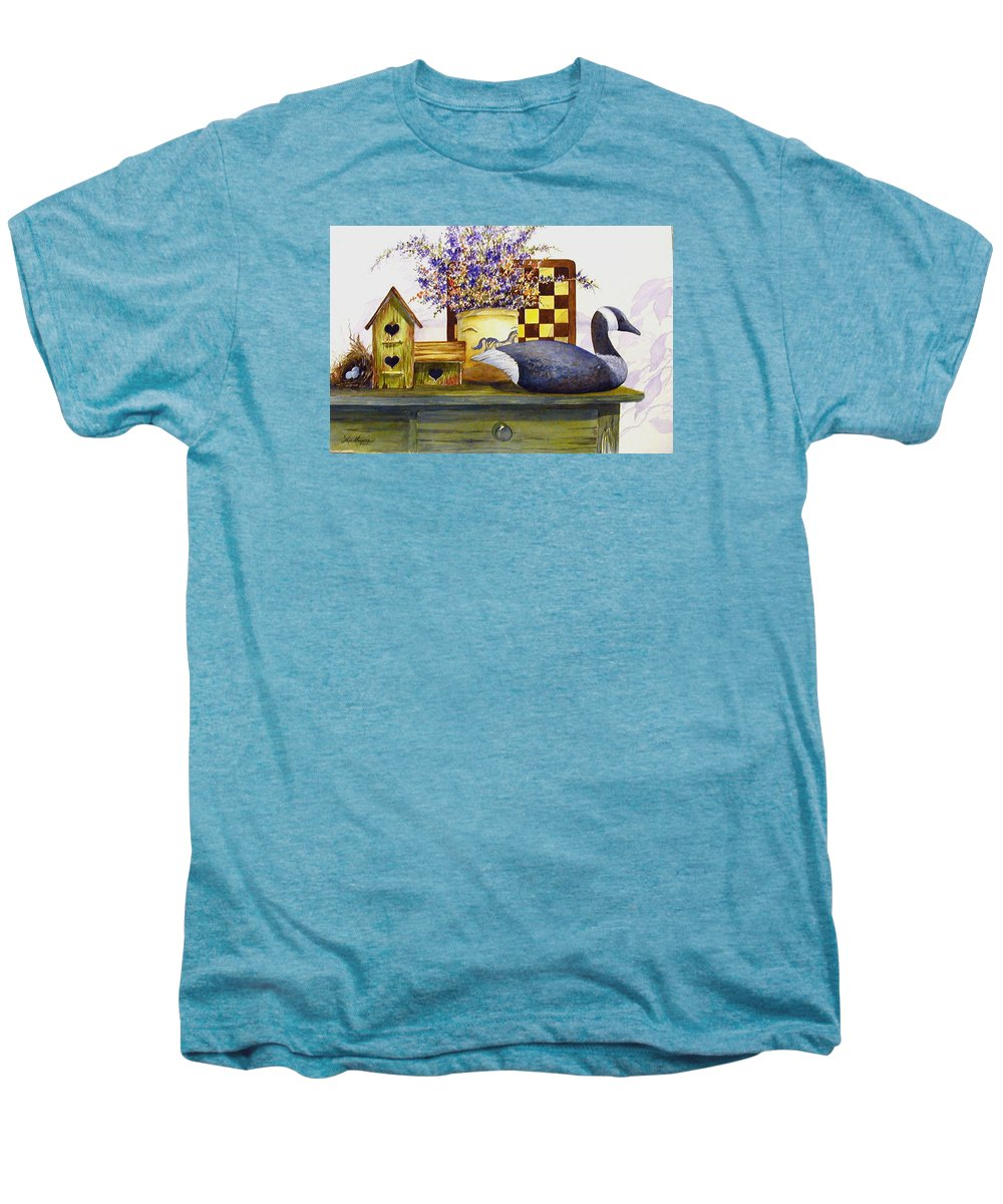 Canada Goose;birdhouse;bird Nest;crock;checkerboard;still Life;country Still Life; Men's Premium T-Shirt featuring the painting Canada And Checkerboard by Lois Mountz