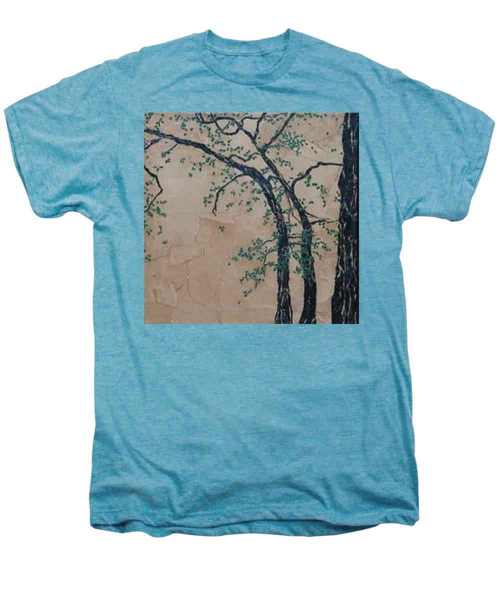 Leafy Tree Men's Premium T-Shirt featuring the painting Canandaigua Lake by Leah Tomaino