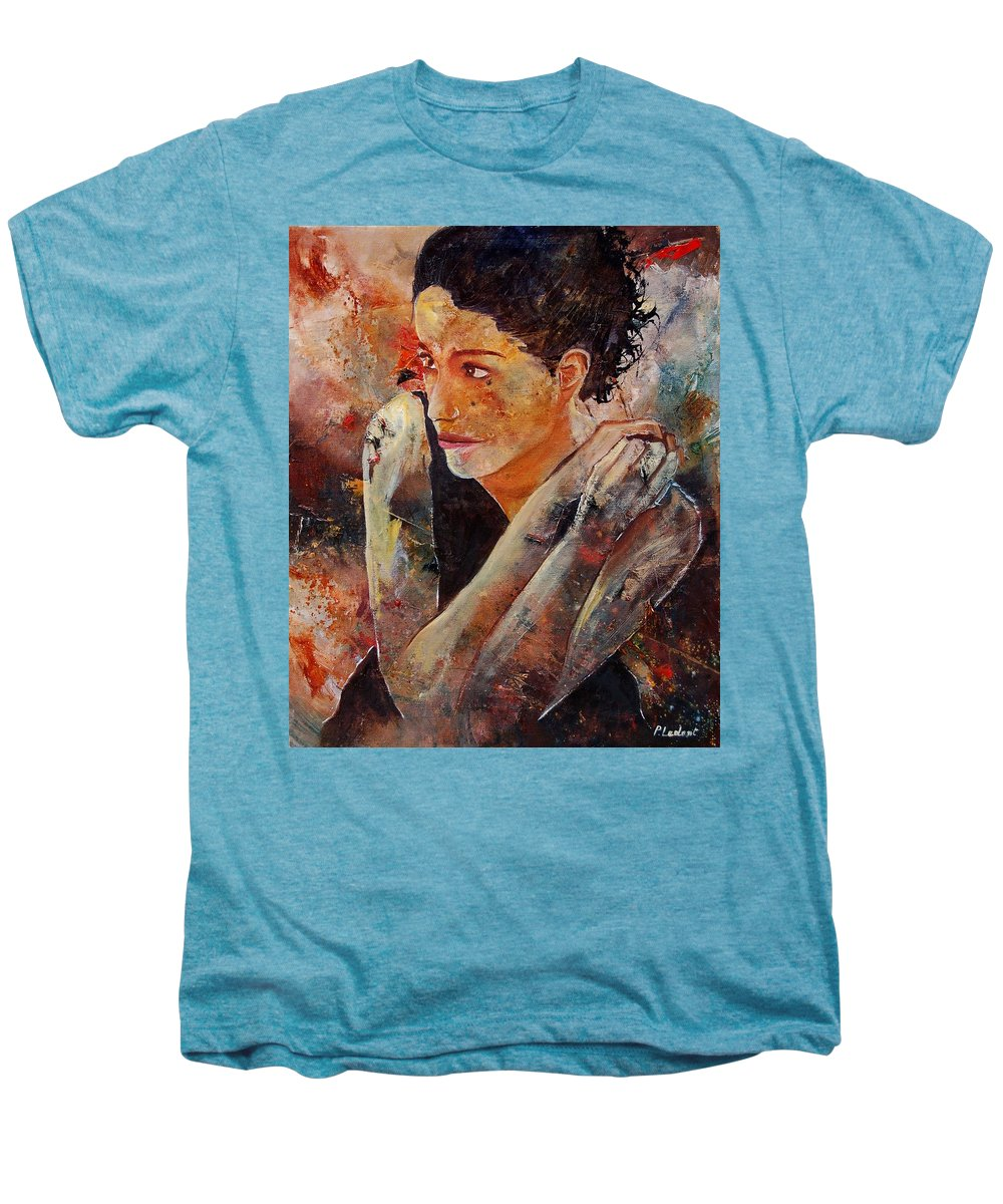 Figurative Men's Premium T-Shirt featuring the painting Candid Eyes by Pol Ledent