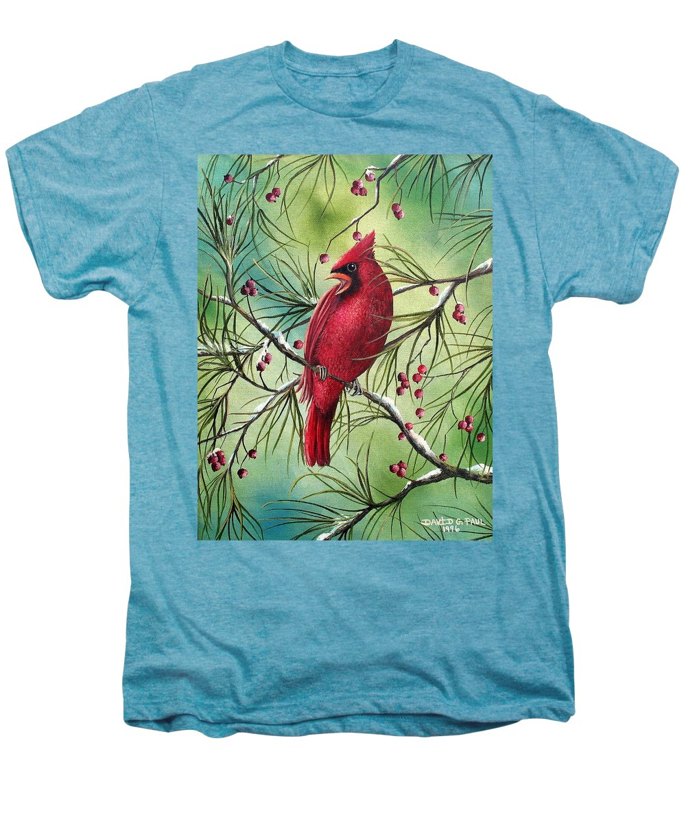 Cardinal Men's Premium T-Shirt featuring the painting Cardinal by David G Paul